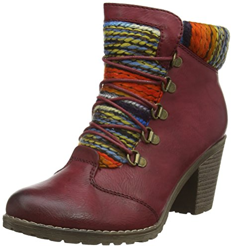 Rieker 95323 - Stivaletti Donna, Rosso (Wine/orange-multi / 35), 37 EU