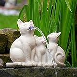 Gartenfigur Wasserspeier Katzenfamilie