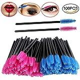 Gutian Eyelash brushes Wands mascara trucco applicatore usa e getta, confezione da 100, colore: Rosa/Blu
