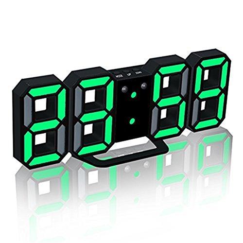 TRADE® LED Elektronische Wanduhr, Digital 3D LED Tabelle Wecker 24/12 Stundenanzeige Kunststoff Wecker Snooze Uhr Helligkeit automatisch einstellen (Schwarz, - Batterie Wanduhren