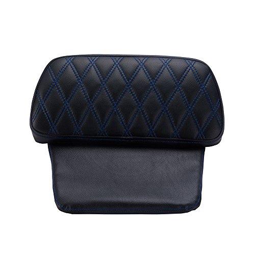 Advanblack Chopped Tour-Pack rückenpolster fit für 2014-2019 Harley/Tour-pak gepäck, Blau Diament Nähte Bernstein Whisky