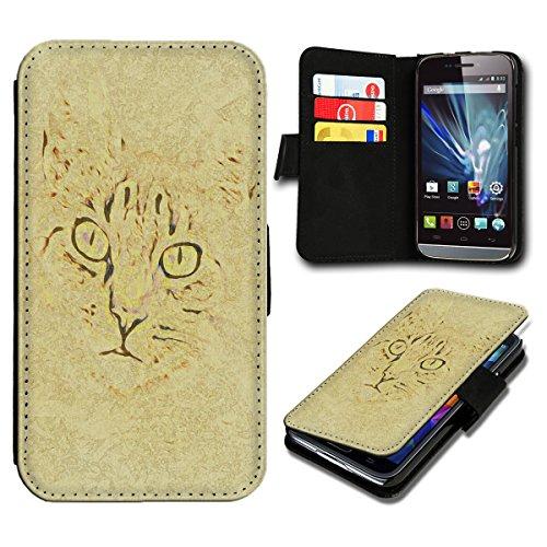 Book Style Wiko Fizz Premium PU-Leder Tasche Flip Brieftasche Handy Hülle mit Kartenfächer für Wiko Fizz - Design Flip SV31