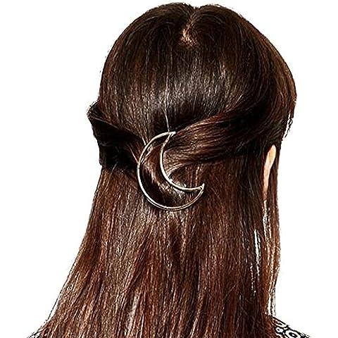 QHGstore 3pcs Oro Argento Triangolo Luna tornante clip di capelli accessori Pinze Hair Style