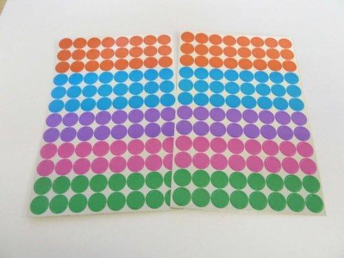 Variado 'De aluminio' Colores Papel Adhesivos, 8mm Circular, 192 Etiquetas, auta-adhesivo Etiquetas Adheribles, Economía Pack