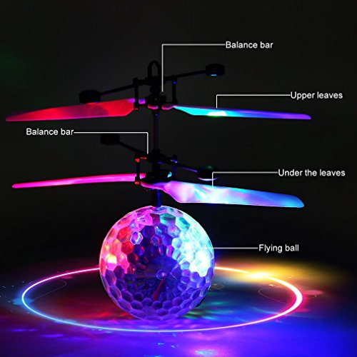 RC fliegender Ball mit LED Leuchtung Disco Musik Spielzeug RC Infrarot Induktionshubschrauber Ball für Kids - 7