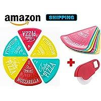 Pizza party, pizza assiette, lot de 6 assiettes originales et pratiques pour servir vos parts de pizza, + un coupe pizza décapsuleur