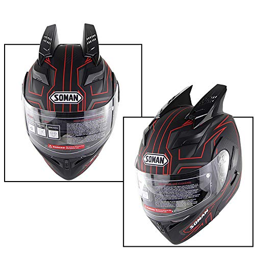 WLJBY Casco Moto da Corsa Moto Motocicletta Open Face personalità Unisex Animal Horns Decorazione Certificazione DOT Anti-Fog Doppio Specchio Downhill Safety Casco Integrale,M