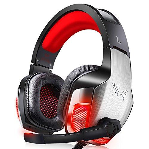 Morease Casque Gaming, Casque Gamer, Bass Surround + Microphone à Réduction du Bruit+ LED Lumière, Compatible avec PS4,PC,Xbox One,Mac et Nintendo Switch
