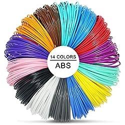 Pluma 3D Filamento ABS - VICTORSTAR 14 Colores, 32.5 pies cada uno Impresión 3D de Pluma Filamento 1.75 mm Total de 455 pies (140 metros), 2 Brillando en la oscuridad Colores Incluidos