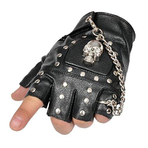 ex Halbfinger fingerlosen Jagd Reiten Radfahren Outdoor Sports Handschuhe mit Nieten Style 1 (Punk Handschuhe)