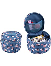Getko Lady Fashion Lady Briefs Barrel Shape Portable Makeup Bag Storage Bag Travel Bag Orangizer Bag With Handle