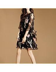 Robes D'Été En Europe Et Aux États - Unis Mode Mou Était Mince Robe Léopard Imprimé Deux Morceaux De Feuilles