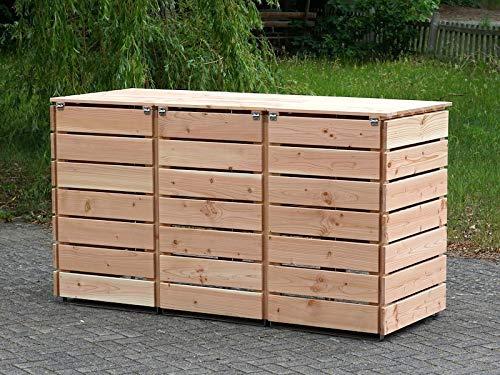 3er Mülltonnenbox / Mülltonnenverkleidung 240 L Holz, Douglasie Natur - 4