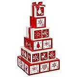 Weihnachtsdeko - wiederverwendbarer Adventskalender aus Holz - Form: Geschenke-Pyramide