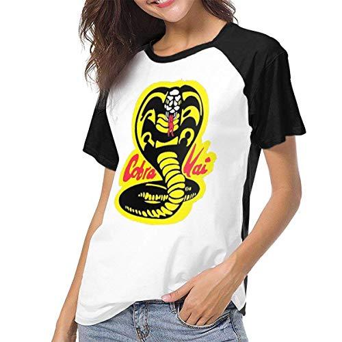 Bagew Damen T-Shirt Mit Rundhalsausschnitt, Raglan Baseball T-Shirt Cobra-Kai-Denim-Dad Printed Crew Neck Casual Tee Tops