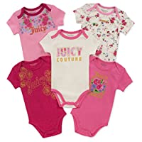 Juicy Couture Baby Girls 5 Pieces Pack Bodysuits, Berry/Pink/Silent Vanilla, 3-6 Months
