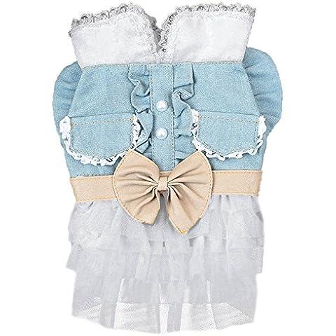BEETEST Vestido de falda del dril de algodón para mascotas moda para cachorro perro gato ropa fiesta disfraz Talla S