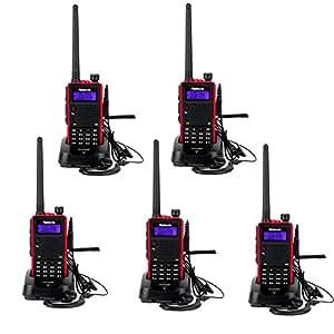Retevis RT5 Talkie Walkie Double Bande VHF/UHF 50 CTCSS/105 DCS DTMF VOX FM Radio Rechargeable (Noir, 5 packs)