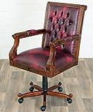 MOREKO Antik-Stil Drehstuhl Massiv-Holz Mahagoni Bürostuhl Chesterfield-Stil höhenverstellbarer Schreibtisch-Stuhl rot