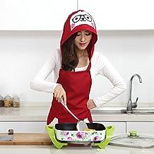 B & Y lavabile da cucina, anti-polvere Oil Hair Care-Felpa con cappuccio, motivo: grembiule, cappello e grembiule con tasca, colore: rosso Rosso