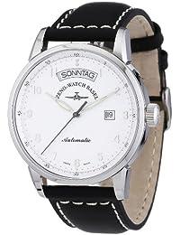 Zeno Watch Basel Magellano 6069DD-e2 - Reloj de caballero automático, correa de piel color negro