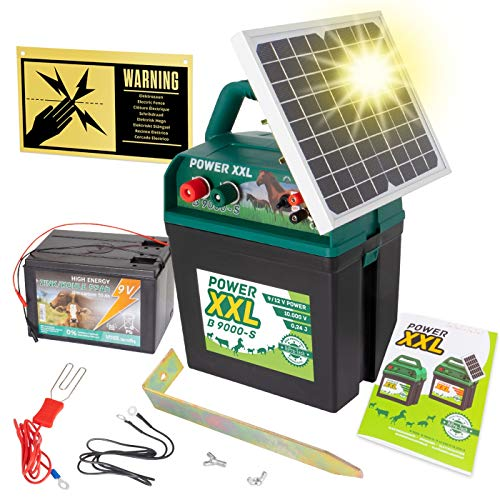 Power XXL B 9.000-S Solar-Weidezaungerät 9V/12V, inkl. 9V Batterie, Megapower, Hocheffektives Solarmodul - sehr Lange Batterielaufzeit, Perfekt für Pferde-, Ponyzaun