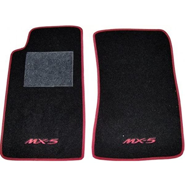 Passgenaue Fußmatten Schwarz Mit Rotem Rand Komplettset Aus Teppichstoff Und Roter Stickerei Auto