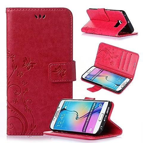 Beiuns Étui en Simili cuir pour Samsung Galaxy S6 Edge Housse Coque - R155 rouge (non compatible avec Samsung Galaxy S6)