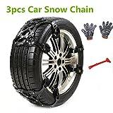 3 PCS Catene da Neve, Anti-skid Snow Chains, Catena di gomma antisdrucciolevole universale di emergenza per il SUV di autocarro in autunno, strada di neve, strada di sabbia
