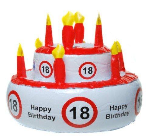 Tarta de Cumpleaños hinchable de 18años (también puede utilizarse como sombrero), diseño con texto en inglés Happy birtday. Material: plástico. Perfecto para decorar en días de cumpleaños. Tamaño: Longitud: 26 cm. Diámetro: 30 cm