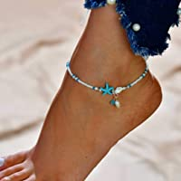 Forall - Cavigliera da donna, con stelle marine, in argento e argento, con perline, per piedi nudi e sandali da spiaggia