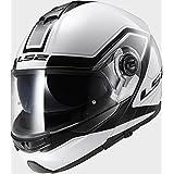 LS2ff325estroboscópica civik blanco negro casco de moto