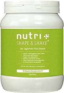 Sojafreies veganes Proteinpulver ohne Zusätze - Nutri-Plus Erbsen-Reisprotein - ohne Soja, Gluten, Laktose, Süßstoff - Neutral 500g - Hypoallergen
