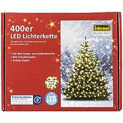Idena LED Lichterkette 400er, ca. 47,90 m, für innen/außen, warm weiß, 31123