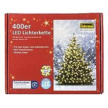 Idena, catena luminosa con 400 LED, per esterni, lunghezza 47,90 m, bianco caldo, 31123