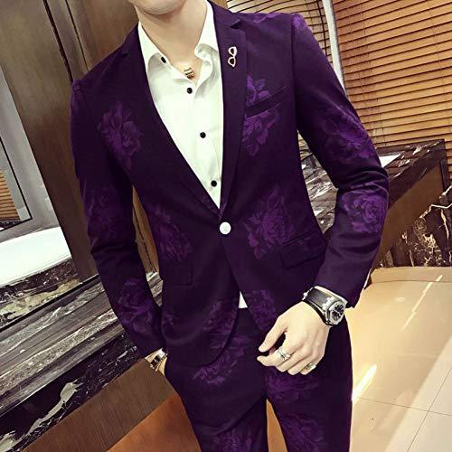 GFRBJK Man Host Party Abend Anzüge Männlich Einreiher Casual Dress Zweiteiler Slim Kostüme Homme e Purple , - Kostüm Homme Slim