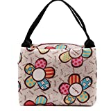 Decorie Portable Stylish Carton Flower Design Lunch Bag Tote for Travel Picnic
