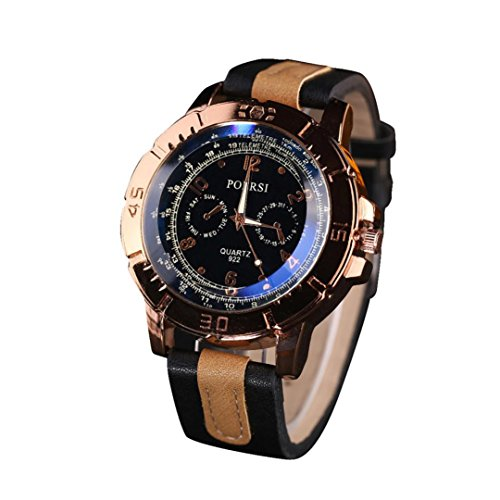 Mens Dress Watch, Quistal Faux Leather Strap Vintage Analog Quartz Wrist Watch (Black)