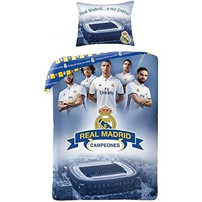 saldi Copripiumino Real Madrid ufficiale blu News 100% prodotti ufficiali di Real Madrid CF completo lenzuola 1piazza copripiumino 140x 200cm Federa 70x 90cm 100% cotone nuova collezione 2017