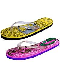 IndiStar Womens Rubber Printed Hawaii Slipper House Flip Flop(Pack Of 2)