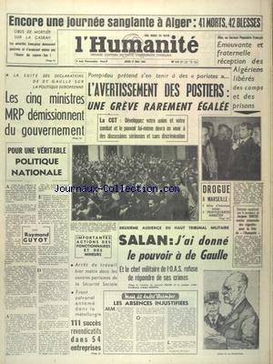 HUMANITE (L') du 17/05/1962 - ENCORE...