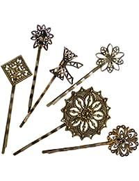 6Pzas. Horquilla Pasador de Pelo Metal Retro Vintage Accesorios Bronce Flor Lazo Cuadrado Real
