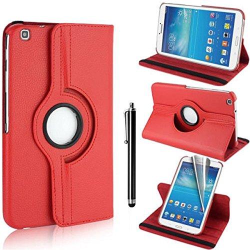 Samsung Galaxy Tab 3 8.0 Case - Rot PU Leder Schutz Hülle 360° drehbar Case für Samsung Galaxy Tab 3 8.0 Zoll SM-T310 Lederhülle Tasche Flip Cover Etui Grün Schutzhülle mit Schwenkbar flexiblem Ständer + Displayschutzfolien und Stylus