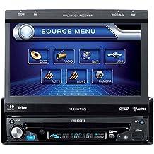 Audiovox VME 9309TS - Radio CD 1DIN con pantalla motorizada (160 W, pantalla LCD, DVD ± ranura R/RW/SD, ecualizador de banda, AUX, USB), negro