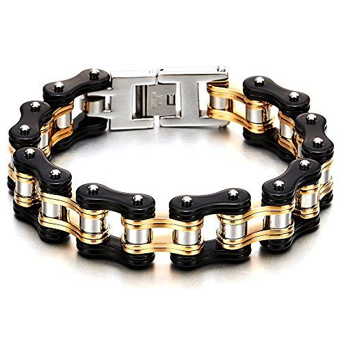 COOLSTEELANDBEYOND Schwer und Robust Herren Fahrradkette Motorradkette Armband aus Edelstahl, Silber Gold Schwarz Tri-Ton, Poliert - Silber-gold-ton