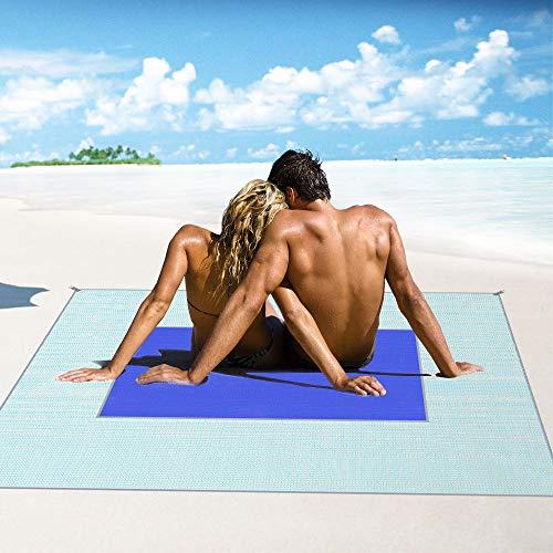 Letilio Beach Rugs - Tappetino da Picnic Anti-Sabbia, Resistente all\'Acqua Coperta da Picnic per Beach Picnic, Outdoor, Tappetino da Spiaggia, Campeggio, Blu (150X200CM)