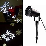 Salcar LED Proiettore Luci Natale con sfondo bianco neve, disegni dinamici, Rotazione di proiettore RGB, Luce di Proiezione LED Natale, proiettore lampada da giardino, decorazione della parete, illuminazione per feste, illuminazione del giardino per feste, Natale, Carnevale
