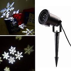 Idea Regalo - Salcar LED Proiettore Luci Natale con sfondo bianco neve, disegni dinamici, Rotazione di proiettore RGB, Luce di Proiezione LED Natale, proiettore lampada da giardino, decorazione della parete, illuminazione per feste, illuminazione del giardino per feste, Natale, Carnevale