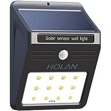 Holan 12 LED Luz Sensor Solar Proyector Impermeable con Sensor de Movimiento para Patio Exterior, Hall, Jardín, Porche, Garaje,1PCS