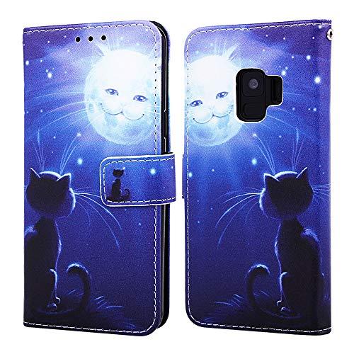 Nadoli Leder Hülle für Galaxy S9 Plus,Bunt Katze Sonne Malerei Ultra Dünne Magnetverschluss Standfunktion Handyhülle Tasche Brieftasche Etui Schutzhülle für Samsung Galaxy S9 Plus